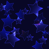 Dark background with dark blue neon stars (seamless background) Stock Photography