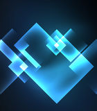 Dark background design with squares and shiny glowing effects Royalty Free Stock Photo