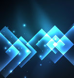 Dark background design with squares and shiny glowing effects Stock Images