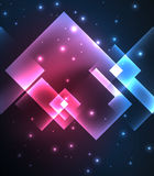 Dark background design with squares and shiny glowing effects Royalty Free Stock Image