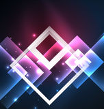 Dark background design with squares and shiny glowing effects Stock Image