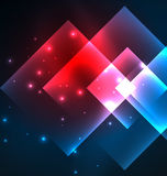 Dark background design with squares and shiny glowing effects Stock Photography