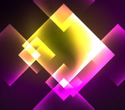 Dark background design with squares and shiny glowing effects stock illustration
