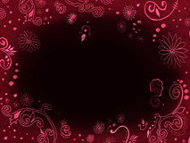 Dark background - frame with embroidery. Dark bordo velvet background - frame with embroidered swirls and flowers and empty space for your text royalty free stock photography