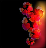 Dark background with glowing hearts Royalty Free Stock Images