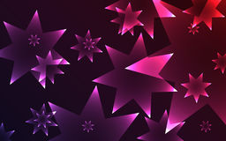 Dark background with glowing shiny seven pointed stars Royalty Free Stock Image