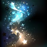 Glowing blue stars Abstract background. Dark background with golden and blue, luminous stars. Design with stars royalty free illustration