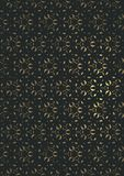 A dark background with a golden floral ornament on a black background royalty free illustration