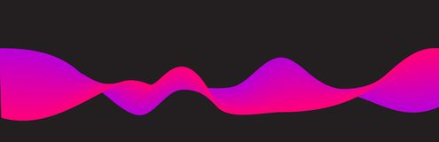 Background with flowing wave. gradient Pink and violet abstract shape on black vector illustration