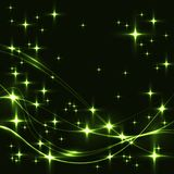 Dark background with green stars and waves. Royalty Free Stock Photography
