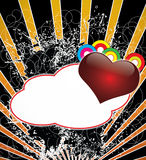 A dark background with heart and banner  in the fo. Reground  ,many colors Stock Photos