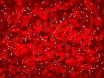 Dark background with hearts. Abstract Valentine's day background with many red hearts on black phone Stock Photos