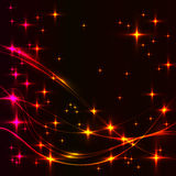 Dark background with hot stars and waves. Royalty Free Stock Image