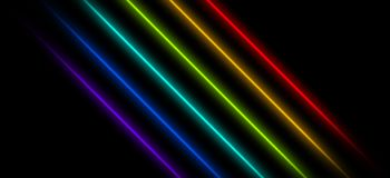 Neon background, cage of light rays. On a dark background, neon beams, lines, different colors Royalty Free Illustration