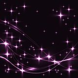 Dark background with pink stars and waves. Stock Photography