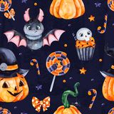 Dark Background with pumpkins, candy,muffin,bat,skull and bow stock illustration