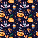 Dark Background with pumpkins, candy,muffin,bat,skull and bow vector illustration