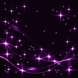 Dark background with purple stars and waves. Glowing shinning stars and waves in violet colors on dark sky. Lilac stars and waves on black background Royalty Free Stock Photography