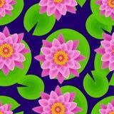 Dark background seamless pattern with lotus Stock Photos