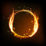Dark background with shiny round frame with flame Royalty Free Stock Images