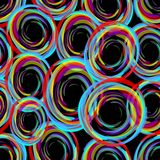 Dark background with strong contrasting neon circles Stock Photography