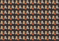 Dark background with three different teddy bears vector illustration