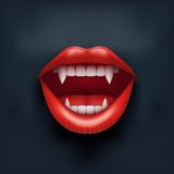 Dark Background of vampire mouth with open lips. Stock Images