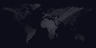 Dark background with white color dotted world map, lines, curves. Abstract design vector decoration. Royalty Free Stock Image
