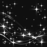 Dark background with white stars and waves. Glowing shinning stars and waves in monochromatic colors on dark sky. white stars and waves on black background Stock Images