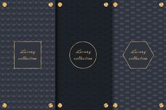 Dark backgrounds with gold elements. Collection of dark backgrounds for elegant packaging of luxury products royalty free illustration