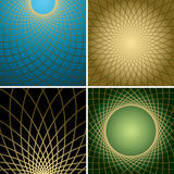 Dark vector backgrounds with golden curved grids - set Royalty Free Stock Image