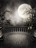 Dark balcony with candles. Dark gothic balcony with candles and vines Royalty Free Stock Photo