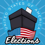 Dark Ballot Box Ready for the American Elections, Vector Illustration. Poster with black ballot box ready for the American elections with a U.S.A. flag around it vector illustration