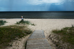 Dark Baltic sea. Stormy day by gulf of Riga, Baltic sea royalty free stock images