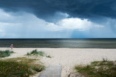Dark Baltic sea. Stormy day by gulf of Riga, Baltic sea stock images