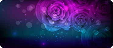 Dark banner with abstract roses Royalty Free Stock Photo
