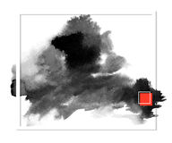 Dark banner black spots on the wet ink Stock Photography