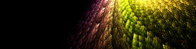 Dark banner with shining rainbow fractal design element stock photography