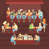 Dark Bar With Criminal Looking Bikers And Sailor Clients And Slutty Waitresses Serving Beers Illustration. Night Pub Where Muscly Men Meet To Drink Alcohol Stock Photo