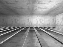 Dark basement empty room interior. Concrete walls. Architecture. Background. 3d render illustration Royalty Free Stock Images