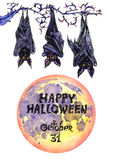 Dark bats with full moon 'Happy Halloween'. Hand painted Isolated Watercolor Illustration: Dark bats with full moon 'Happy Halloween Royalty Free Stock Photo