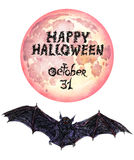 Dark bats 'Happy Halloween'. Hand painted Isolated Watercolor Illustration: Dark bats with full moon 'Happy Halloween Royalty Free Stock Photography