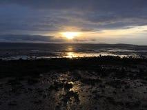 Dark Beach Sun Set stock photos