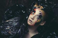 Dark Beautiful Gothic Princess. Close up. Halloween party concept. stock photography