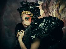 Dark Beautiful Gothic Princess.Halloween party concept. Close up portrait royalty free stock image