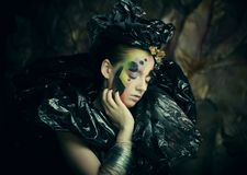 Dark Beautiful Gothic Princess.Halloween party concept. stock photos