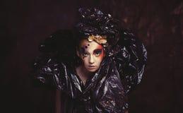Dark Beautiful Gothic Princess.Halloween party concept. royalty free stock photo