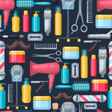 Dark Beauty Salon Pattern. Hair dressing and beauty salon professional accessories pattern with colorful elements and tools on dark background vector royalty free illustration