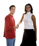 Dark Beauty Shaking Hand with Casual Man Royalty Free Stock Images