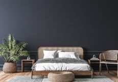Free Dark Bedroom Interior Mockup, Wooden Rattan Bed On Empty Dark Wall Background Royalty Free Stock Photos - 194653958